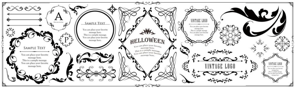 ハロウィンのフレーム素材、ハッピーハロウィン、パーティー、イベント、装飾素材、ビンテージ、アンティーク、ゴージャス、ラグジュアリー