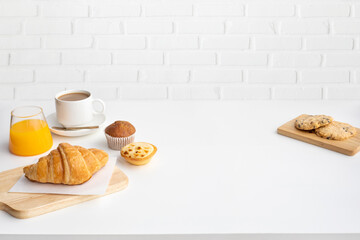 Set of breakfast food or bakery and coffee on table kitchen background.cooking and eating with healthy, morning lifestyle