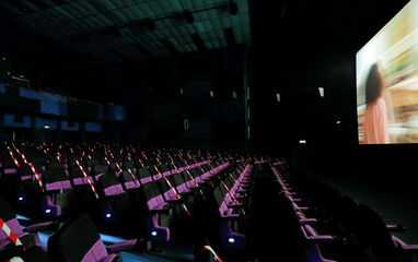 Empty chairs are seen during a movie time at Savoy cinema, amid concerns about the spread of the coronavirus disease (COVID-19), in Colombo