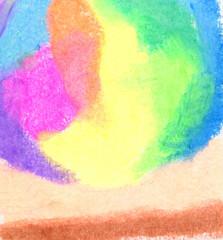 蛍光カラーのクレヨンで描かれたグラフィカルな背景素材