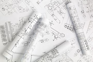 paper rolls of electrical engineering drawings