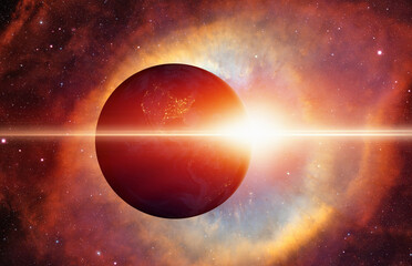 Wall Mural - Planet earth with supernova explosion - Deep space abstract sci-fi backgrounds