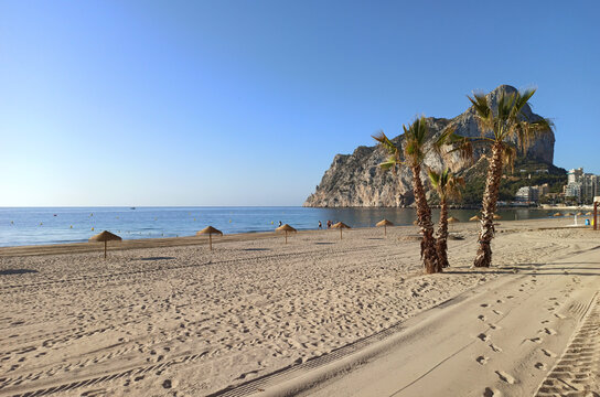 Empty beach Ifach mountain view. Calpe town. Spain