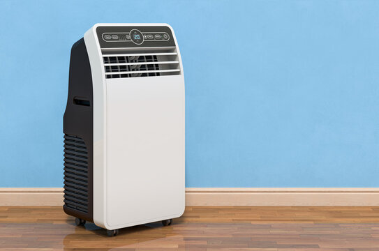 Portable Air Conditioner in room near wall, 3D rendering