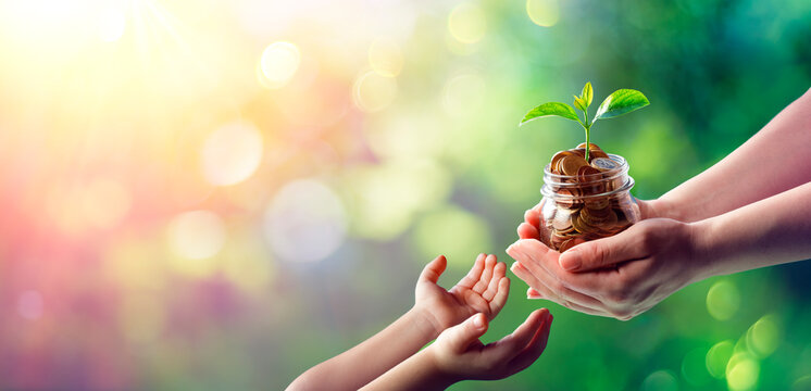 Mother Hands Giving Money Saving To Child - Grow And Investment For The Future Generation