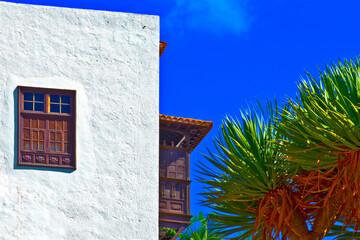 spain, canary islands, tenerife :  Icod de los Vinos, balcony ,window and dragon-trees