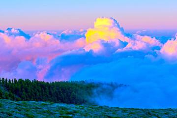 spain, canary islands, la palma : near pico de la cruz at twilight