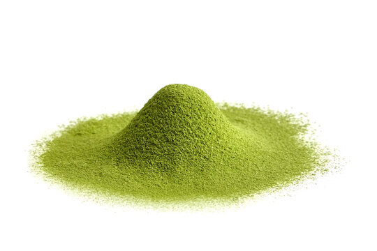 Freeze dried wheatgrass powder heap isolated on white. Detox superfood.