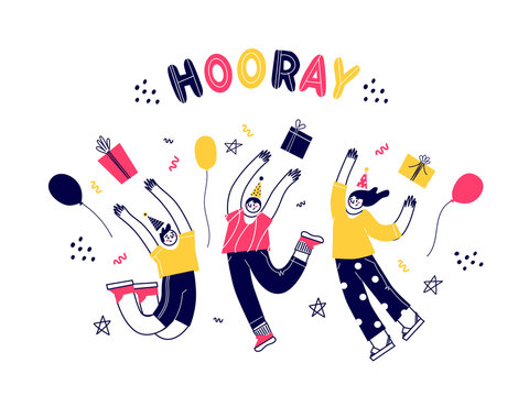 Vector characters have fun jumping. Birthday party. Different people celebrate. Flat vector illustration.