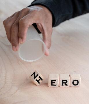 """Alphabet in wood Blocks for illustration of """"Zero vs Hero"""""""