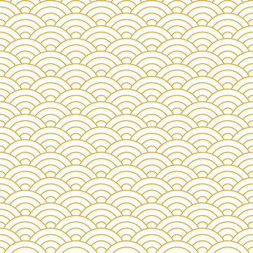 Japanese wave line pattern vector. Seigaiha in gold and white. Seamless luxury ocean waves circles background for wallpaper, textile, or other traditional decorative print.
