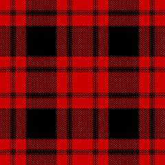 Black and red buffalo check plaid pattern vector. Seamless dark herringbone textured check plaid for flannel shirt, skirt, or other modern autumn winter textile print.
