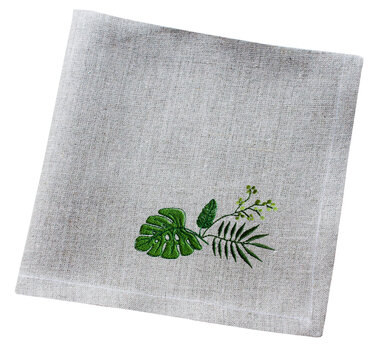 linien embroidered napkin with green leaf isolated on white background