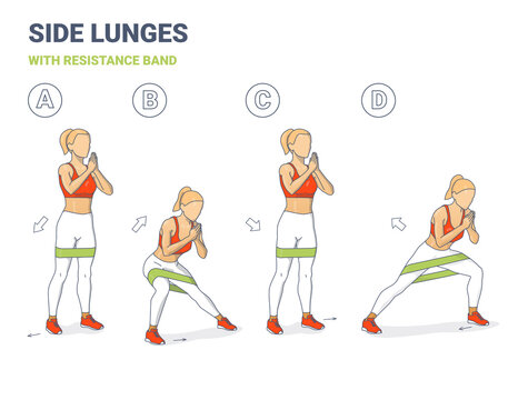 Side Lunges with Resistance Band Girl Silhouettes. Lateral Lunges with mini-band home workout illustration a young woman in sportswear top, leggings, and sneakers does the sport exercise sequentially