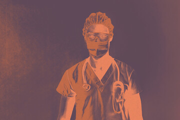 Concept portrait of a youn er doctor and medical worker wearing mask  and eye glasses for covid-19 corona virus protection