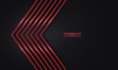 Red arrows on a dark hexagonal abstract grid background. Luxury overlap direction design. Modern futuristic red metallic arrows and dark gray honeycomb backdrop. Vector illustration EPS10.