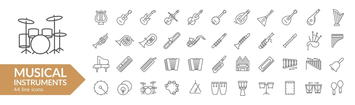 Musical instrument line icon set. Strings, winds, keyboards, percussion. Vector illustration. Collection