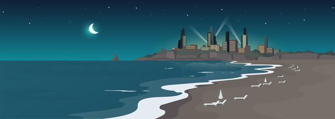 Sandy urban beach at night flat color vector illustration Wall mural