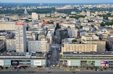 WARSAW, POLAND - JUNE 27, 2018.  View from above and urban skyline with hotels and office and commercial buildings at sunset in Warsaw downtown, Poland.