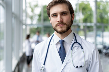 happy male medical doctor portrait in hospital.