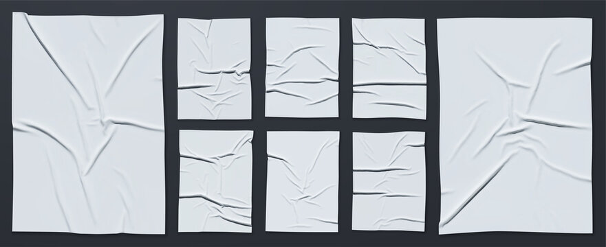 Mockup of white glued wrinkled poster. Big Set of vector realistic crumpled wet glued paper. Cool modern posters that are easy to edit and use in your presentation. Everything is grouped by layers