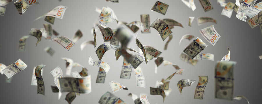 Money rain - one hundred dollar bills flying. 100 USD