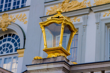 Gilded lamp at Nymphenburg Palace in Munich, Germany