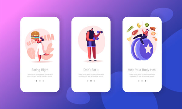 Diet Failure, Disruption of Healthy Eating and Lifestyle Mobile App Page Onboard Screen Template. Tiny People Characters Hang on Huge Yo-yo. Weight Loss or Gaining Concept. Cartoon Vector Illustration