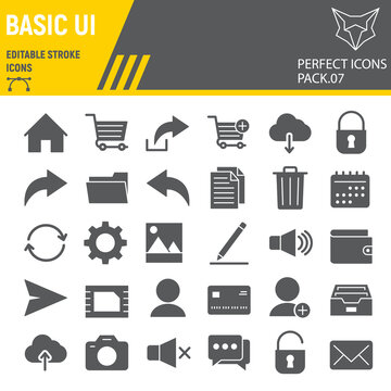 Basic UI glyph icon set, web mobile symbols collection, vector sketches, logo illustrations, ui icons, universal signs solid pictograms, editable stroke.