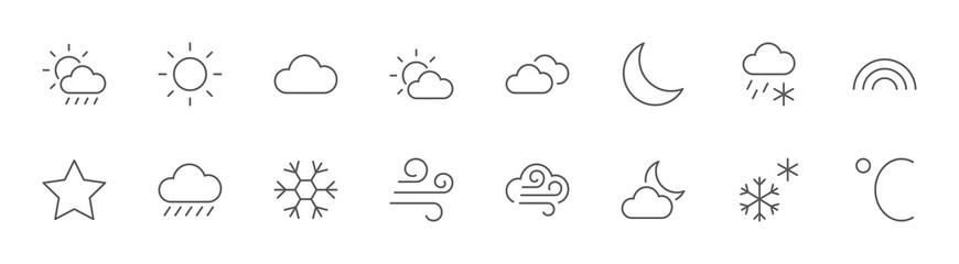 Weather Line Icons. Sun, Clouds, Snowflakes, Wind, Rainbow, Moon Editable Stroke