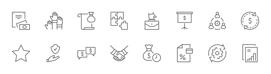 Business Cooperation Line Icons. Icons Puzzle Team Synergy Work. Editable Stroke
