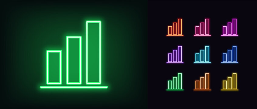 Neon upward graph icon. Glowing neon growth diagram sign, up bar chart
