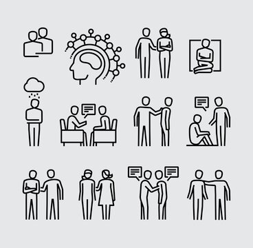 Mental Health. Supporting a Friend or Family Member with Mental Illness Vector Line Icons