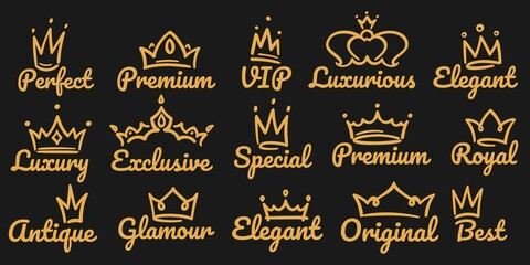 Premium crown logo. Sketch golden luxurious and exclusive, special and glamour diadems. Crowns with different decoration for vip or royal person logotype. Queen, king accessory vector illustration