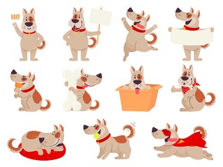 Cartoon dog mascot. Cute dogs in different action and emotion, happy smile friendly behavior pet, character funny avatar vector set. Puppy playing with ball, sitting in box, sleeping, eating