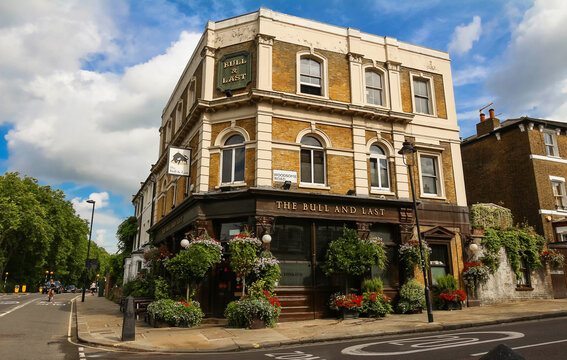 LONDON, UK - AUGUST 14,2017:The Bull and Last is an historic pub housed in a 19th century coaching inn in Hampstead Heath in leafy north west London.