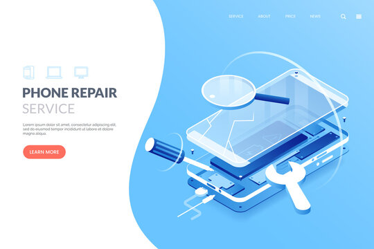 Smartphone repair service vector illustration. Disassembled smartphone in isometric view. Mobile phone repair process. Fix gadgets web banner concept.