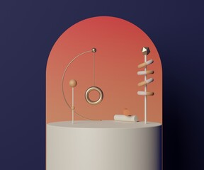 3d geometric forms. Empty podium for mock up. Vacant fashion show stage,pedestal, shopfront with colorful color. Minimal scene for  product display
