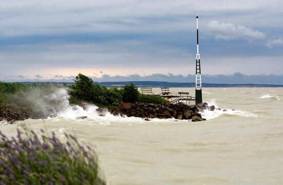 Stormy wind at Lake Balaton, Hungary ( Fonyód )