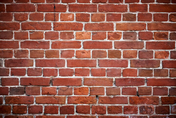 Red brick wall background. Old brick texture, close up