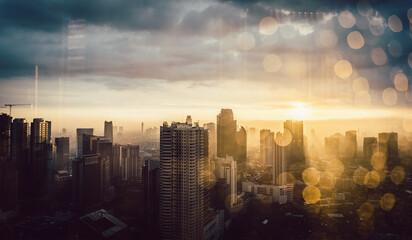 Skyline of Jakarta shot through window with raindrops a glass