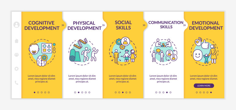 Preschool education tasks onboarding vector template. Parenthood and childhood. Kids development. Responsive mobile website with icons. Webpage walkthrough step screens. RGB color concept