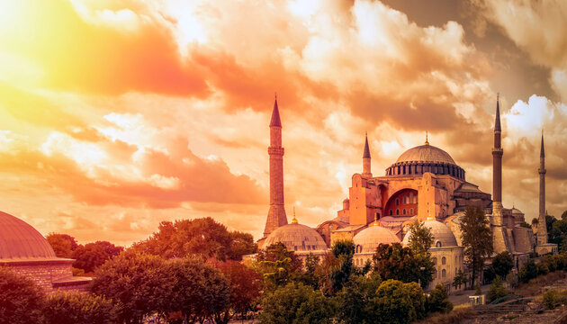 Istanbul Turkey – April 05, 2019:  Sunny day architecture and Hagia Sophia Museum, in Eminonu, istanbul, Turkey