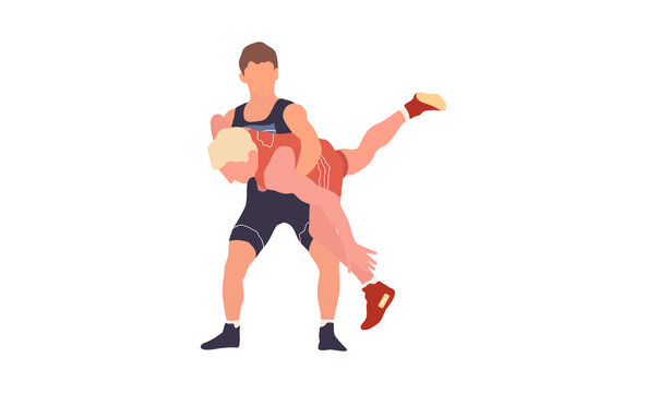 Wrestling flat isolated illustration. Two young fighters