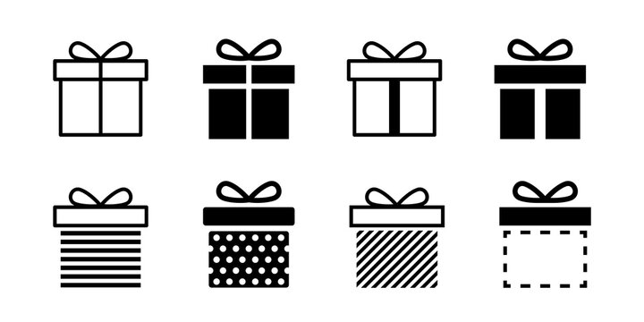 Present gift box icon. Vector isolated elements. Christmas gift icon dotted illustration vector symbol. Surprise present linear design. Stock vector.