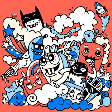 Vector illustration of Doodle cute , Doodle set of funny monster