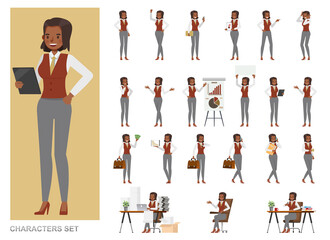 Photo sur Toile Les Textures Set of business Woman character vector design. Girl working in office. Presentation in various action with emotions, running, standing and walking.
