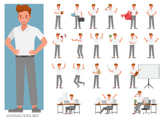 Photo sur Toile Les Textures Set of businessman character vector design. Presentation in various action with emotions, running, standing and walking. People working in office planning, thinking and economic analysis.