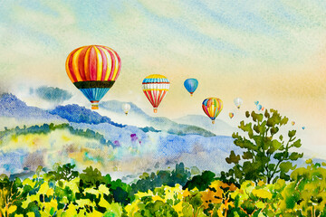 Watercolor painting Colorful hot air balloons flying over mountain.