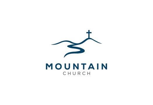 church logo designs with mountain